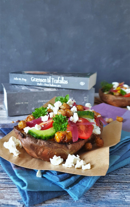 Vegetarisk bagt kartoffel med græsk og elvisk flair